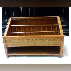 Vintage Wicker & Rattan Desk Organizer